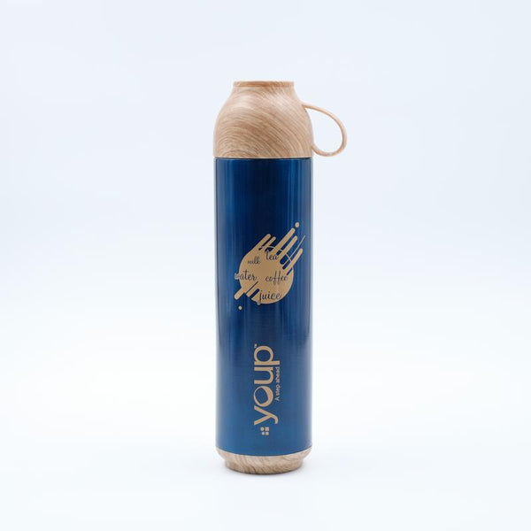 Youp Thermosteel blue color water bottle with handle containing cup cap YP515 - 500 ml
