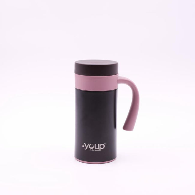 Youp Thermosteel pink and brown color coffee mug with side handle YP403 - 400 ml