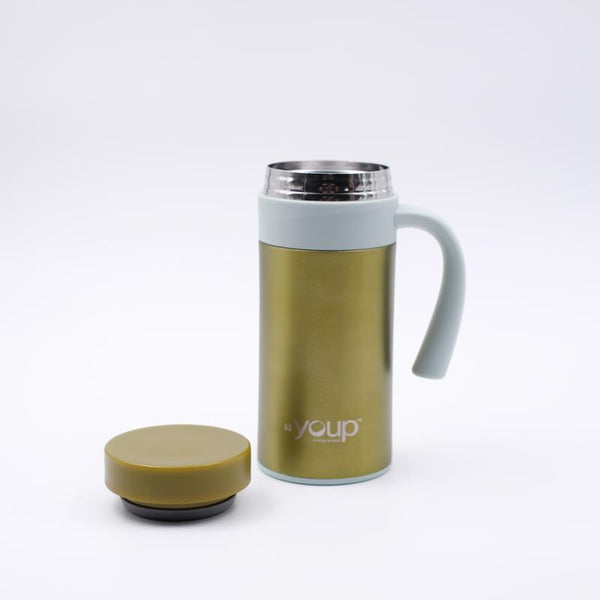 Youp Thermosteel green and grey color coffee mug with side handle YP403 - 400 ml