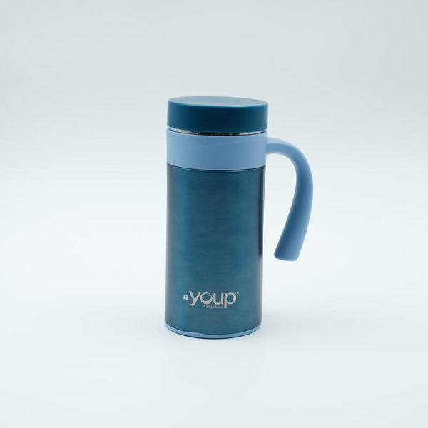 Youp Thermosteel blue color coffee mug with side handle YP403 - 400 ml