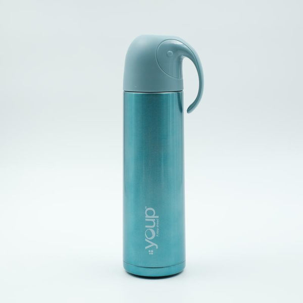 Youp Thermosteel blue color water bottle with handle containing cup cap YP512 - 500 ml