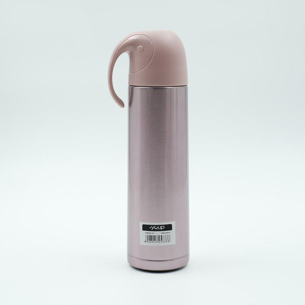 Youp Thermosteel metallic pink color water bottle with handle containing cup cap YP512 - 500 ml
