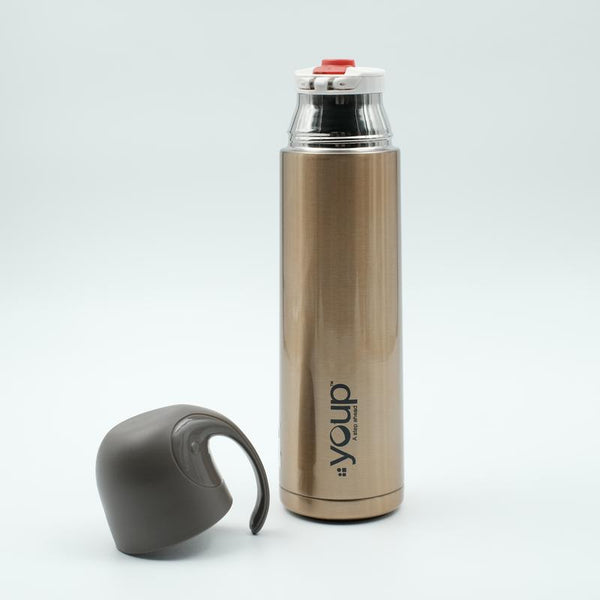 Youp Thermosteel gold color water bottle with handle containing cup cap YP512 - 500 ml