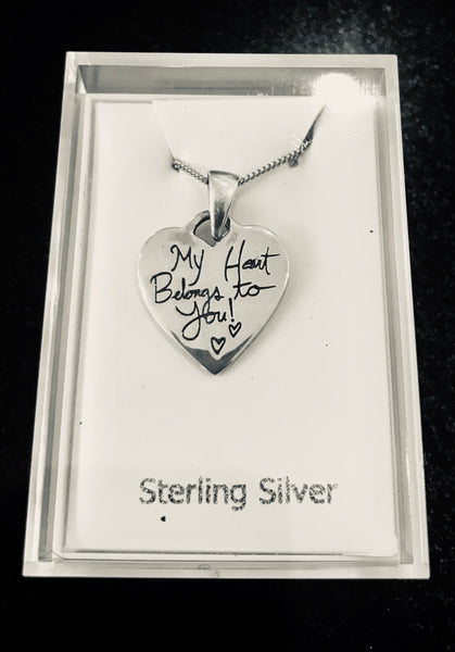 Pretty Sterling Silver Necklace 'My Heart Belongs to You'