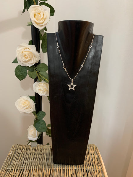 Pretty Silver & Crystal Star Necklace with Star detailed Chain