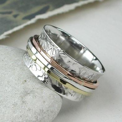 Quality Sterling Silver Floral Three Tone Spinning  Ring Worry Ring Meditation Therapeutic Stress Anxiety relieving Ring
