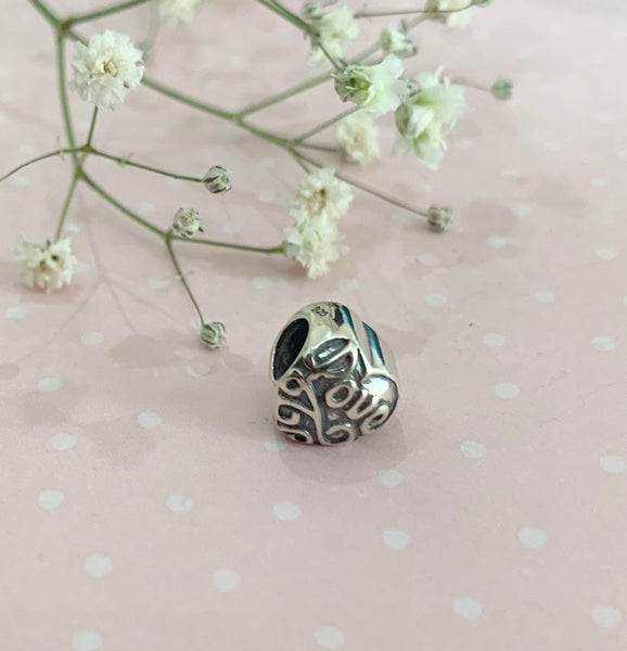 Sterling silver Love Heart Charm Bead fits all popular Charm Bracelets