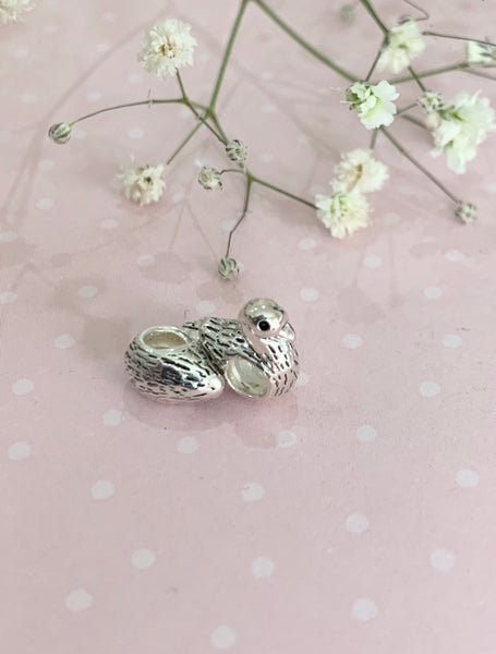 Sterling silver Little Duckling Charm Bead fits all popular Charm Bracelets
