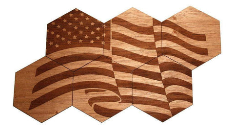 Solid Wood Coasters | 6-Pack | American Flag-DooMahickeys
