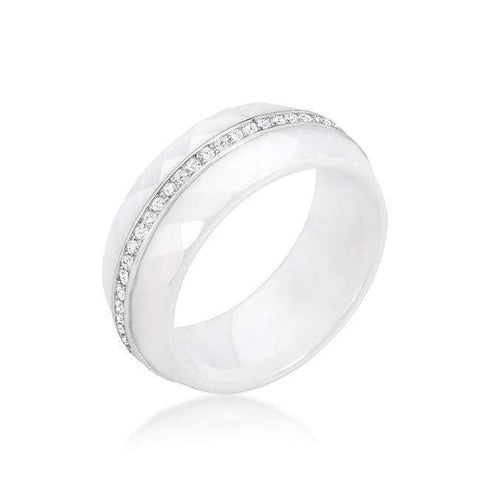Ceramic Band Ring - White-DooMahickeys