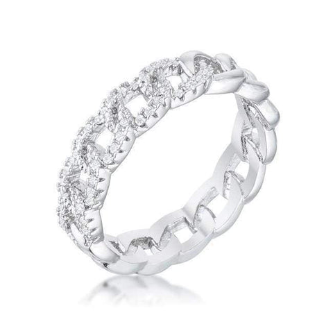 Interlocking Rhodium Chain Design Ring with Cubic Zirconia-DooMahickeys