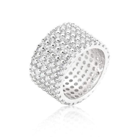 Silvertone Finishd Wide Pave Cubic Zirconia Ring-DooMahickeys