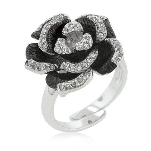 Two-tone Finish Floral Ring with Textured Pedals-DooMahickeys