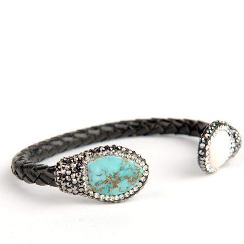Isis Leather Turquoise and Pearl Bracelet-DooMahickeys