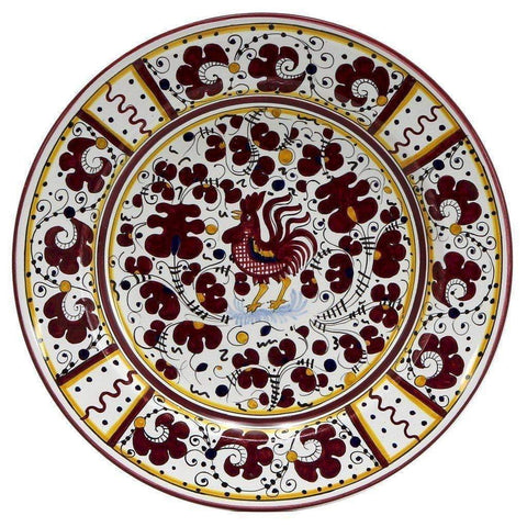 ORVIETO RED ROOSTER: Large Serving Charger Platter-DooMahickeys
