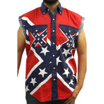 Sleeveless Denim Vest Confederate Rebel Flag Redneck Biker Shirt-DooMahickeys