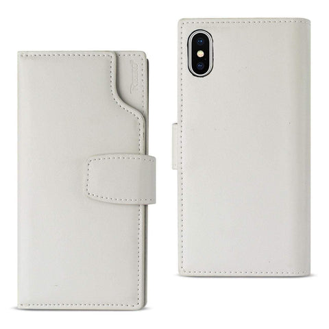 Reiko iPhone X Genuine Leather Wallet Case With Open Thumb Cut In Ivory-DooMahickeys