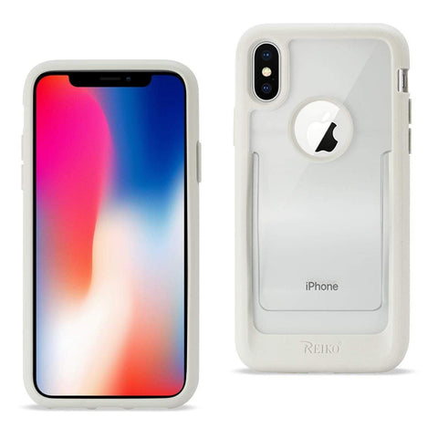Reiko iPhone X Belt Clip Polymer Case In Clear White-DooMahickeys