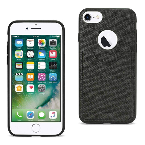 Reiko iPhone 8/ 7 Anti-Slip Texture Protector Cover With Card Slot In Black-DooMahickeys