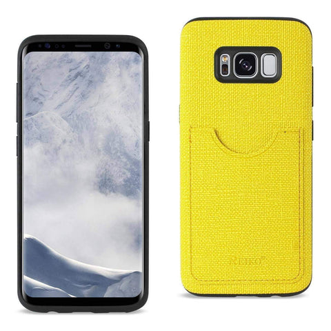 REIKO SAMSUNG GALAXY S8/ SM ANTI-SLIP TEXTURE PROTECTOR COVER WITH CARD SLOT IN YELLOW-DooMahickeys