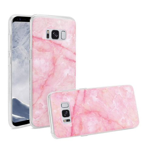 Reiko Samsung Galaxy S8 Edge/ S8 Plus Streak Marble Cover In Pink-DooMahickeys
