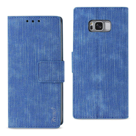 REIKO SAMSUNG S8 EDGE/ S8 PLUS DENIM WALLET CASE WITH GUMMY INNER SHELL AND KICKSTAND FUNCTION IN NAVY-DooMahickeys