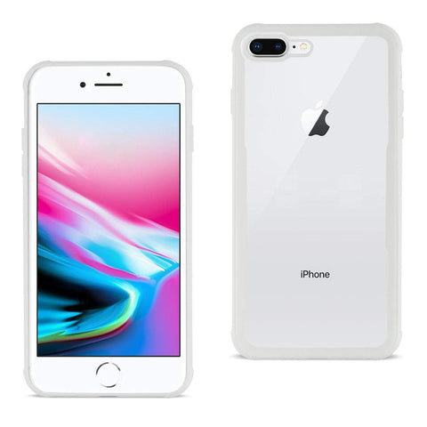 Reiko iPhone 8 Plus Hard Glass TPU Case With Tempered Glass Screen Protector In Clear White-DooMahickeys