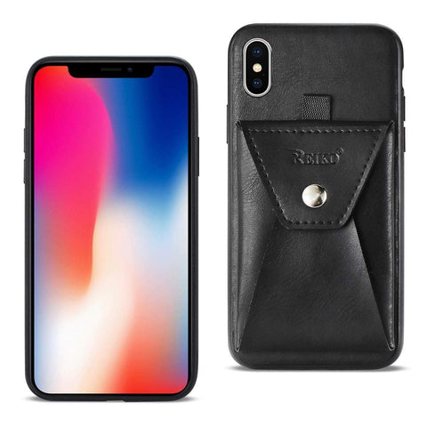 Reiko iPhone X Durable Leather Protective Case With Back Pocket In Black-DooMahickeys