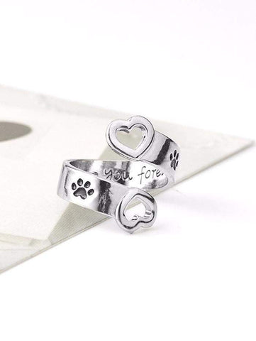 Love You Forever Claw Footprint Heart Ring-DooMahickeys