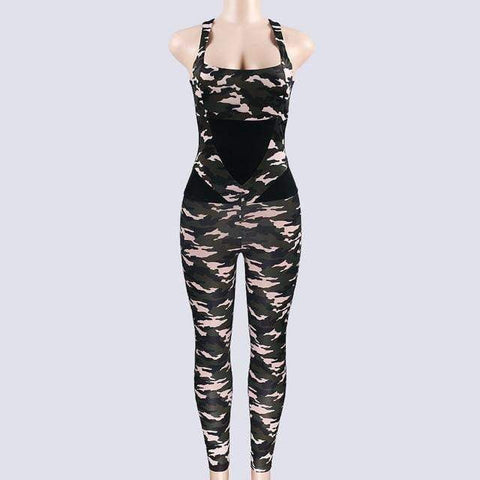 Sport Jumpsuit Gym Woman Sportswear Camouflage Workout Clothes Women Fitness Clothing Female Sports Suit Tracksuit-DooMahickeys