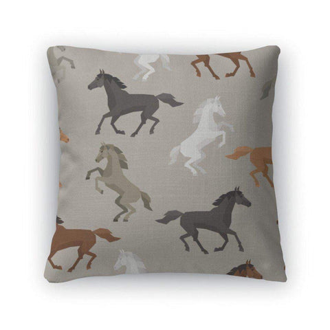 Throw Pillow, Pattern With Horse In Flat Style-DooMahickeys