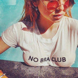 No Bra Club Letter Womens Loose Pullover Short T Shirt Short Sleeve White Tops Shirt Colloge Crop-eprolo-DooMahickeys