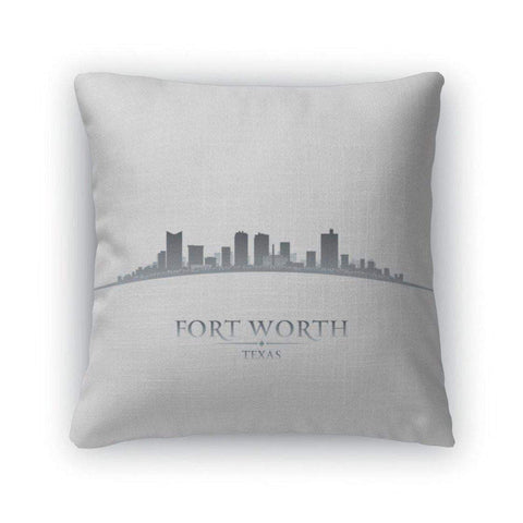 Throw Pillow, Fort Worth Texas City Skyline Silhouette White-DooMahickeys