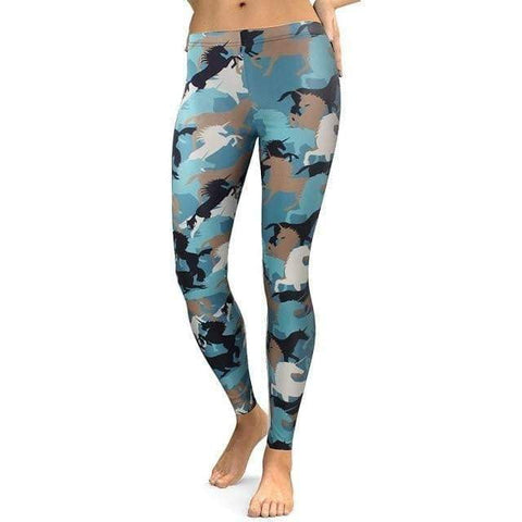 Women Leggings Animal Horse Digital Print Pants-DooMahickeys