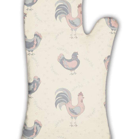 Oven Mitt, Roosters And Hens Pattern-DooMahickeys