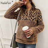 Nadafair Leopard Patchwork Plus Size Fluffy Sweatshirt Women Zip Fleece Casual Oversized Hoodie Winter Pullover Hoody Ladies-DooMahickeys-Khaki-S-DooMahickeys