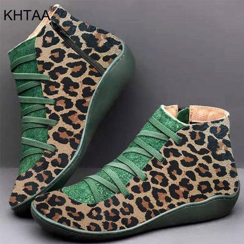 Leather Leopard Print Winter Strappy Boots-Leopard Collection-DooMahickeys-DooMahickeys