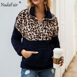 Nadafair Leopard Patchwork Plus Size Fluffy Sweatshirt Women Zip Fleece Casual Oversized Hoodie Winter Pullover Hoody Ladies-DooMahickeys-Camel-S-DooMahickeys