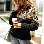 Nadafair Leopard Patchwork Plus Size Fluffy Sweatshirt Women Zip Fleece Casual Oversized Hoodie Winter Pullover Hoody Ladies-DooMahickeys-DooMahickeys
