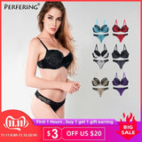 Perfering Plus Size Bras Set Sexy Underwear Cotton Gather Push up Bra and Panty Set Women B C D DD E Large Cup Bra Big Lingerie-DooMahickeys-DooMahickeys