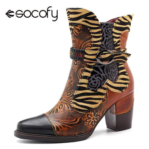 Socofy Retro Printed Cowgirl Ankle Boots Women Winter Patchwork Horsehair Genuine Leather Women Boots Shoes Woman Zipper Booties-DooMahickeys-DooMahickeys