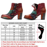 Socofy Vintage Splicing Printed Ankle Boots For Women Shoes Woman Genuine Leather Retro Block High Heels Women Boots 2019 New-DooMahickeys-DooMahickeys