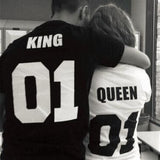 Valentine Shirts Cotton Women Letter Leisure T Shirt King Queen Summer T-shirt Short Sleeve Couple Clothes Plus Size 3XL