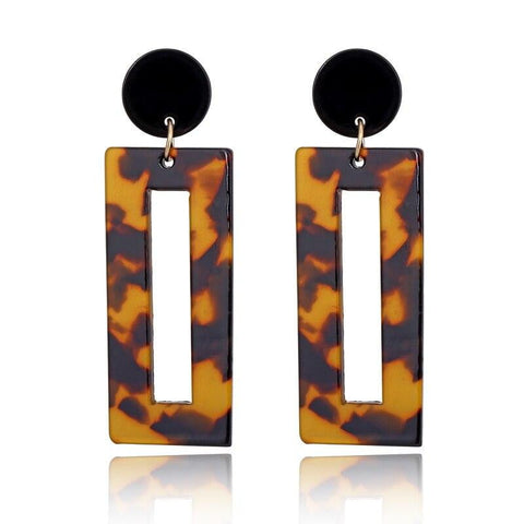 XIYANIKE Leopard Print Acrylic Acetic Drop Earrings-Leopard Collection-DooMahickeys-Light Yellow Gold Color-DooMahickeys