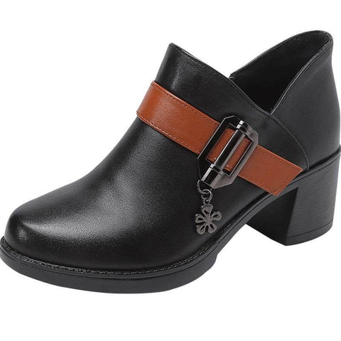 Western Stretch Leather Ankle Boots-Gals Shoes & Apparel-DooMahickeys-Black-5-DooMahickeys