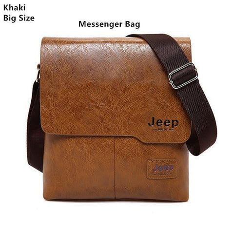 JEEP BULUO Man Messenger Bag 2 Set Men Pu Leather Shoulder Bags Business Crossbody Casual Bag Famous Brand ZH1505/8068-DooMahickeys-Beige-DooMahickeys