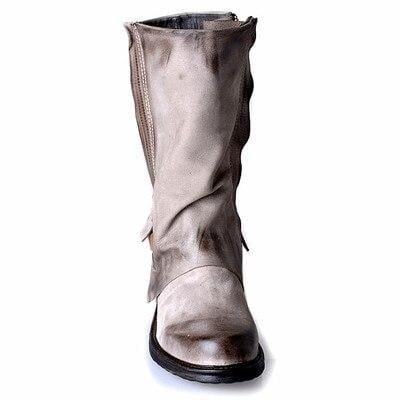 Prova Perfetto Original Retro Style Real Leather Pleated Belt Buckle Mid-Calf Boot Comfort Neutral Large Size Women Knight Boots-DooMahickeys-Beige-34-DooMahickeys