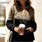 Nadafair Leopard Patchwork Plus Size Fluffy Sweatshirt Women Zip Fleece Casual Oversized Hoodie Winter Pullover Hoody Ladies-DooMahickeys-Black-S-DooMahickeys