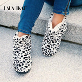 LALA IKAI Women Winter Ankle Shoes Woolen Short Boots Female Cotton Slip-on Leopard Boots Keep warm Casual Snow Boots XWA5992-4-DooMahickeys-DooMahickeys