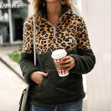 Nadafair Leopard Patchwork Plus Size Fluffy Sweatshirt Women Zip Fleece Casual Oversized Hoodie Winter Pullover Hoody Ladies-DooMahickeys-Army Green-S-DooMahickeys